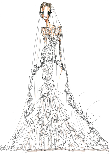 The Serendipitist Angelina Jolies Fantasy Wedding Gown Sketches From Brides
