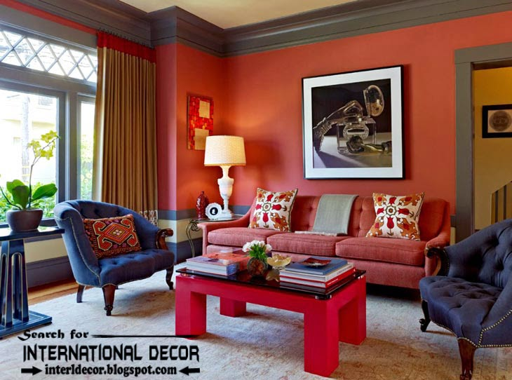color combinations with red color in the interior, red wall paint and color schemes