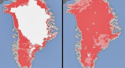 Deshielo record de Greonlandia segun datos proporcionados por la Nasa