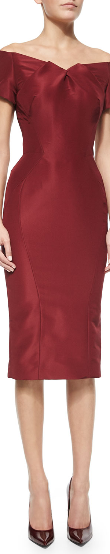 Zac Posen Off-The-Shoulder Cocktail Dress, Burgundy