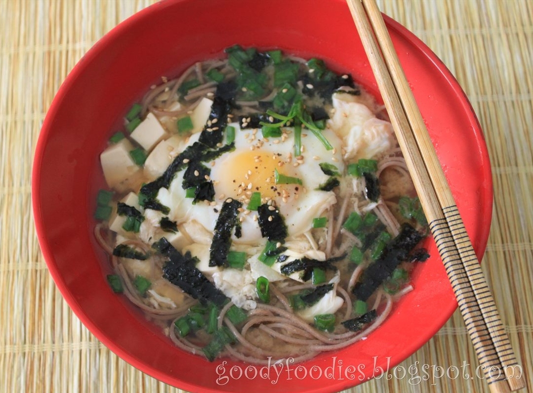 Goodyfoodies quick lunch soba with soft poached egg in miso soup forumfinder Choice Image