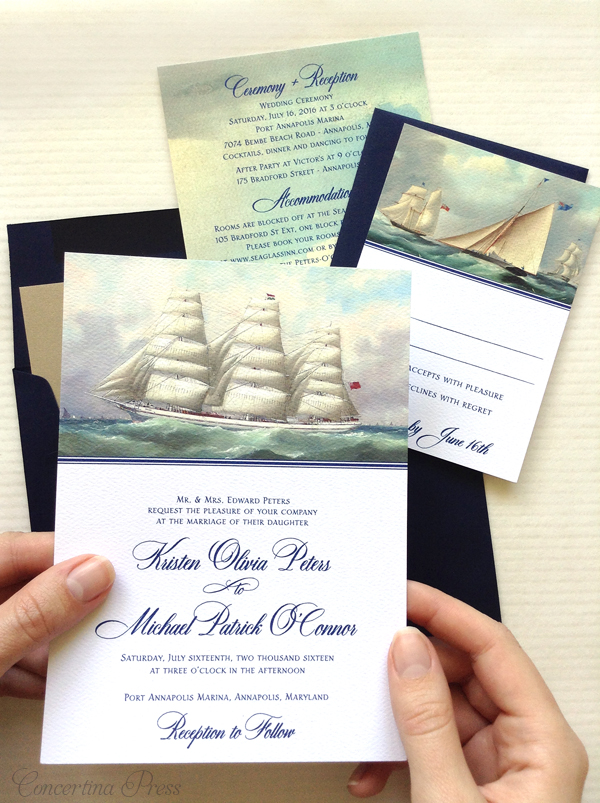 Cape Cod wedding blog photo from Concertina Press - Stationery and Invitations about Sailing Ship Wedding Invitations for your Nautical Nuptiuals