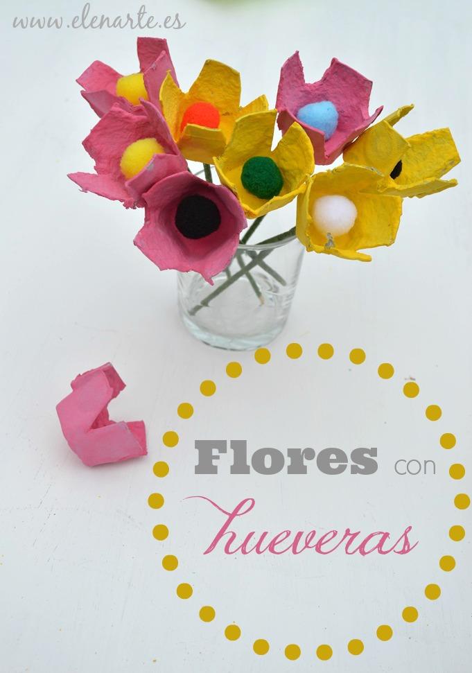 Flores con cajas de huevos