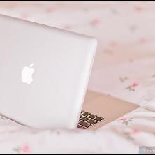 apple, laptop, computer, bed