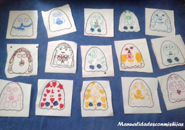 Manualidades infantiles: Marionetas fantasmas Halloween 2