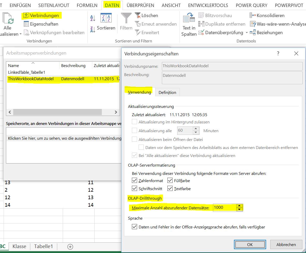 Excel Power Pivot, OLAP DrillDown maximale Anzahl abzurufender ...