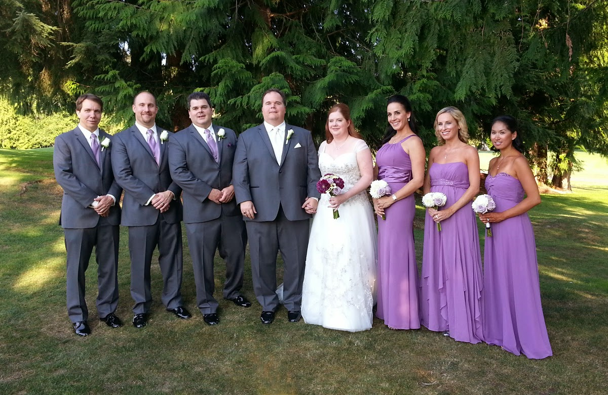 Amy and Scott with their wedding party at Bear Creek Country Club - Patricia Stimac,Seattle Wedding Officiant