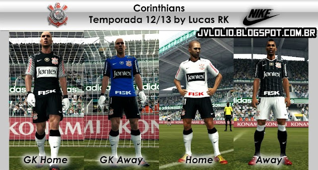 Kit do Sport Club Corinthians Paulista 2012 para PES 2012 Download, Baixar Uniforme do Corinthians 2012 para PES 2012