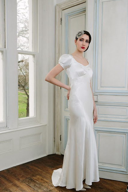 'VIOLETTE' vintage wedding dress design. A sophisticated 1930s style in silk satin.