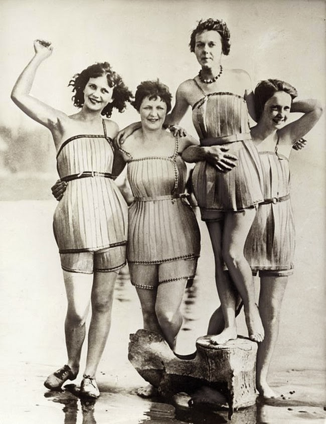 24 Rare Historical Photos That Will Leave You Speechless - Wooden bathing suits made in 1929 that were supposed to make you more buoyant.