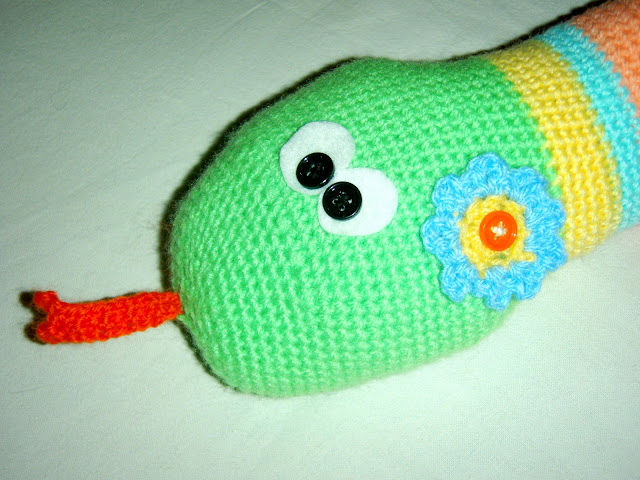 crochet snake face closeup stuffed toy handmade