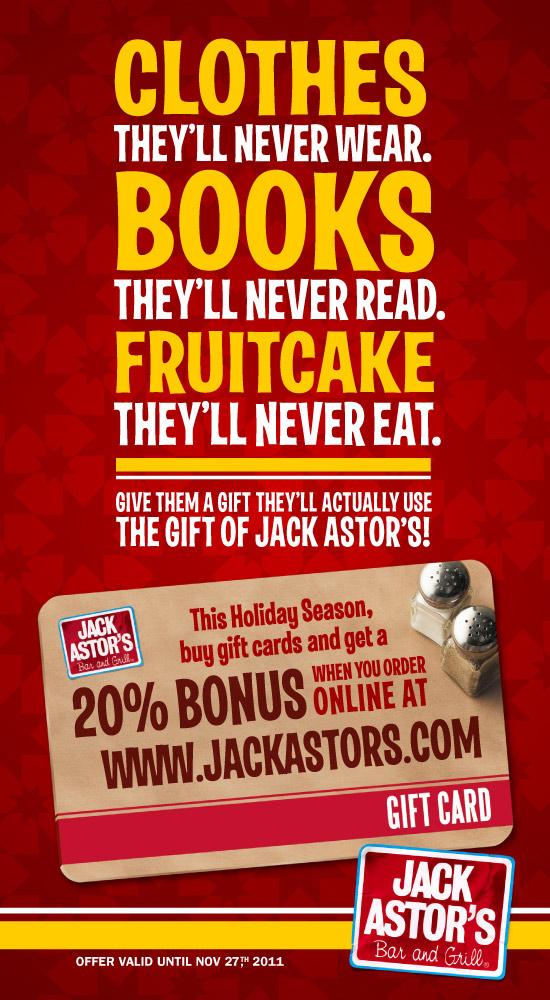 Jack Astor's 20% Bonus Gift Card Offer through November 27th