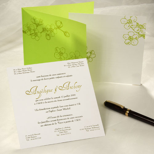 Carte d'invitation à un mariage