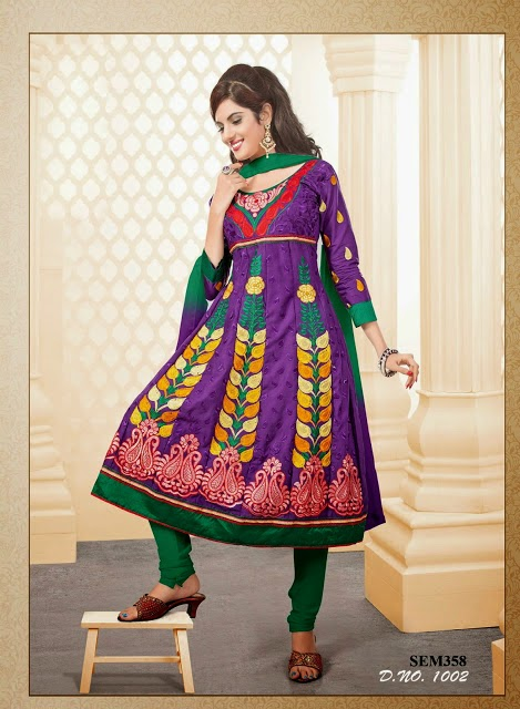 Indian Designer Latest Embroidery Anarkali Cotton Suit Collection For Women 2015