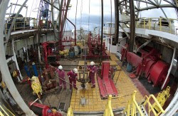 The rig floor of the JOIDES Resolution scientific drilling vessel. (Credit: IODP)