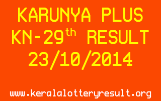 KARUNYA PLUS Lottery KN-29 on 23-10-2014 Lottery Result