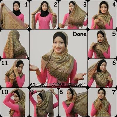 cara pakai shawl 1