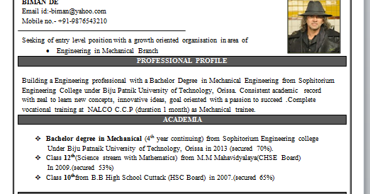 mechanical engineering resume format - Mechanical Engineering Resume Template