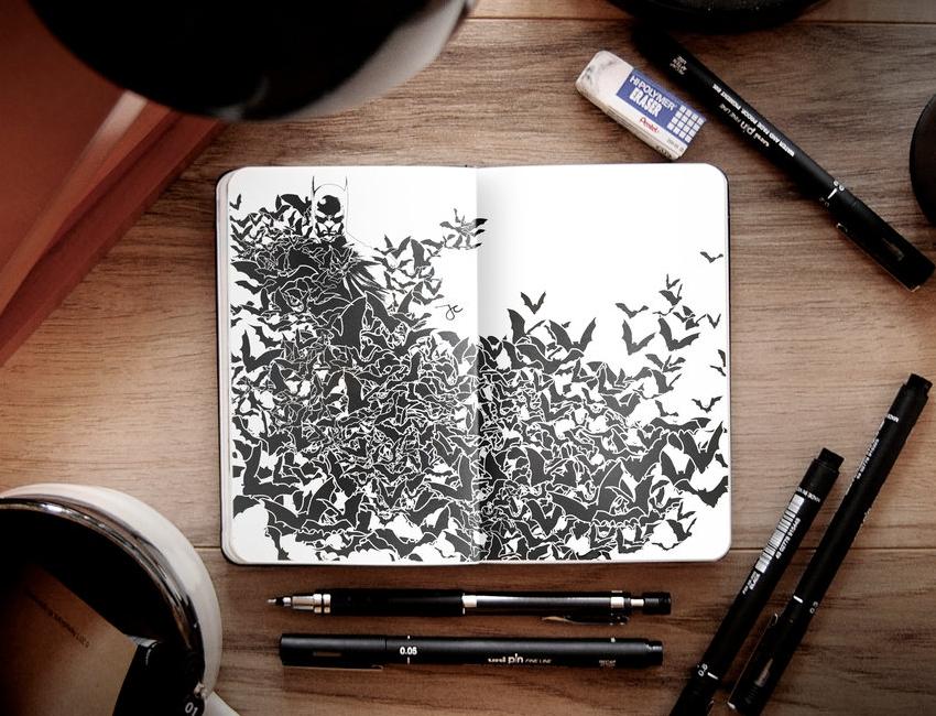 05-Dark-Knight-Joseph-Catimbang-Pentasticarts-Metaphysical-and-Surreal-Doodle-Drawings-www-designstack-co