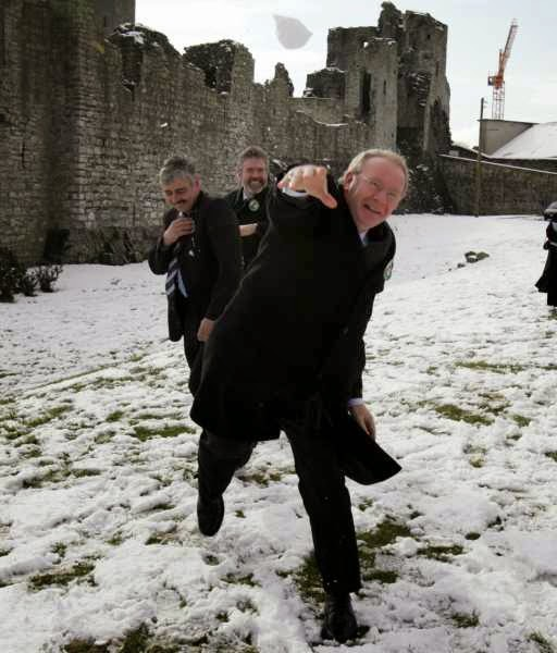 Martin McGuinness takes aim -- with a snowball that is.