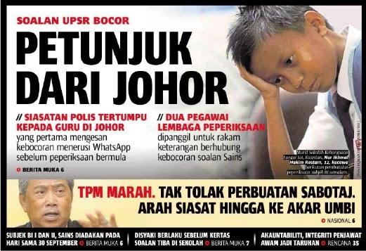 Soalan Bocor Bermula Dari Negeri Johor