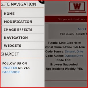 Mobile Side Menu - Weebly
