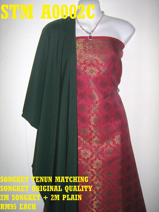 STM A0002C: SONGKET TENUN MATCHING, HIGH QUALITY, 2M SONGKET + 2M PLAIN