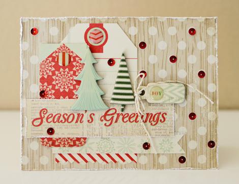 Подложка из тэгов в новогодней открытке