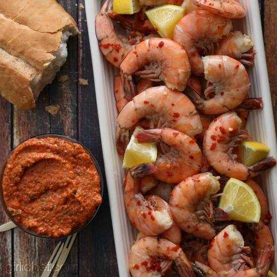 Chilled Shrimp with Romesco Sauce | www.girlichef.com