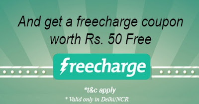 you will get Free 50 Rs freecharge coupon  for successfully signup