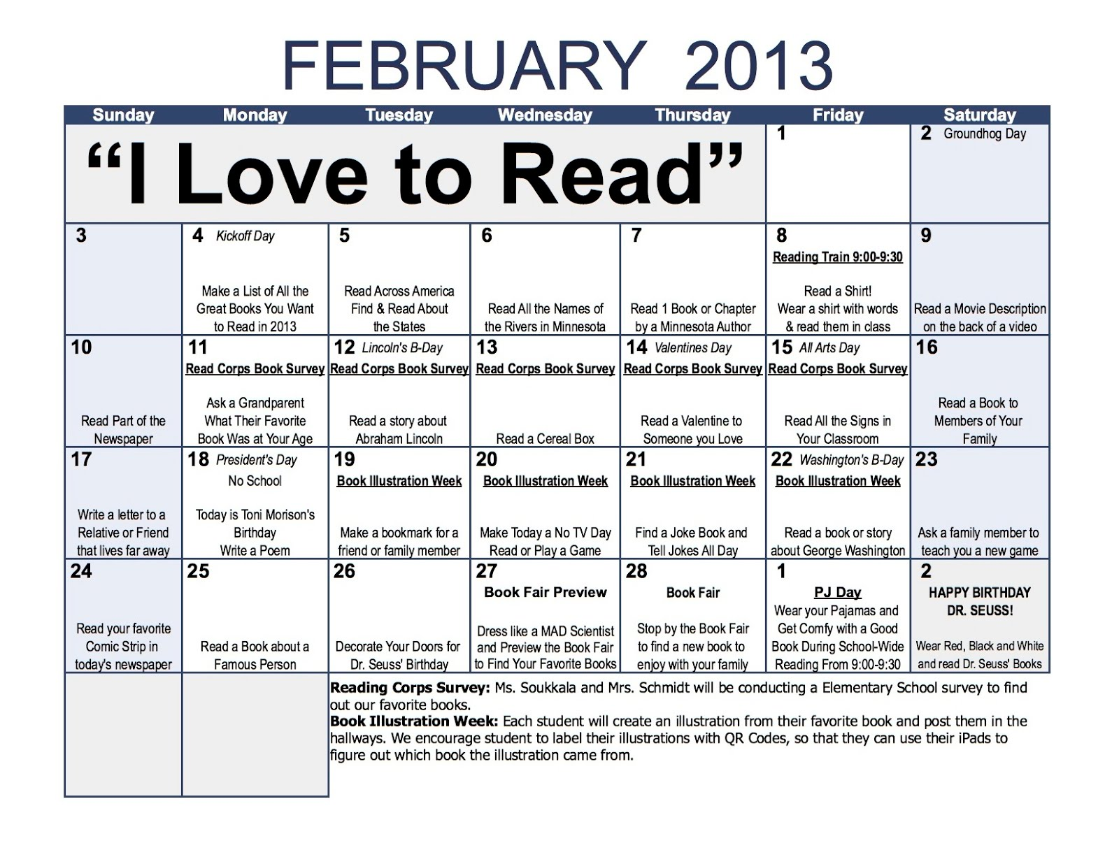 Monthly Reading Calendar : Evan lembke edtech quot i love to read month calendar
