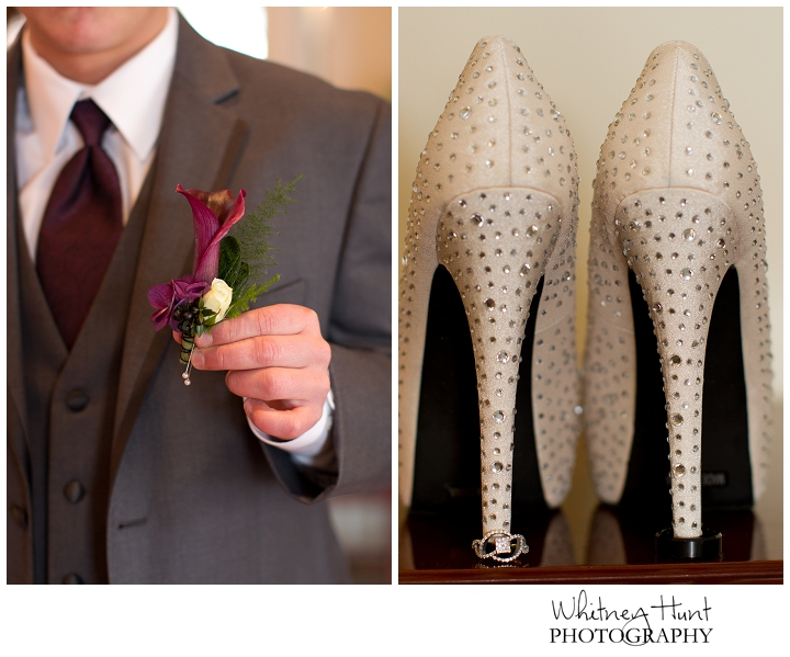 wedding details - purple calla lily groom's boutenierre, wedding ring detail shot with bride's shoes
