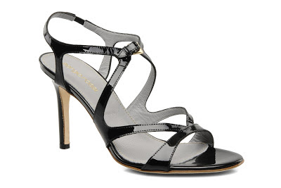 Strappy black high heel sandals