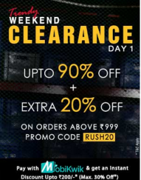Weekend Clearence Sale Upto 90% off + Extra 20% off + Extra 30% cashback