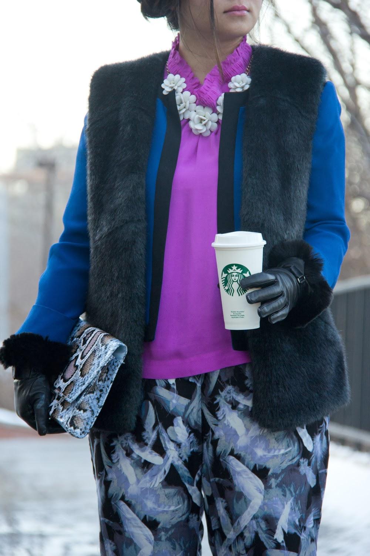 White-Flower-Statement-Necklace, Jcrew-Silk-Top, Faux-Fur-Vest, Black-Gloves