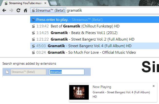 Streamus omnibox