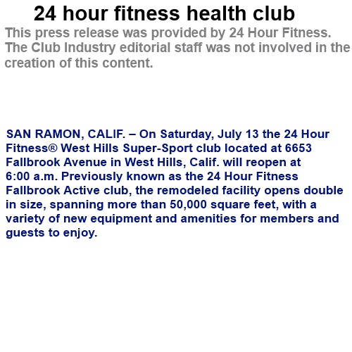 24 club fitness health hour: