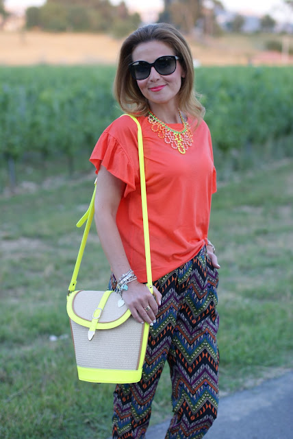 neon bucket bag, persunmall bag, fashion and cookies, swaychic pants