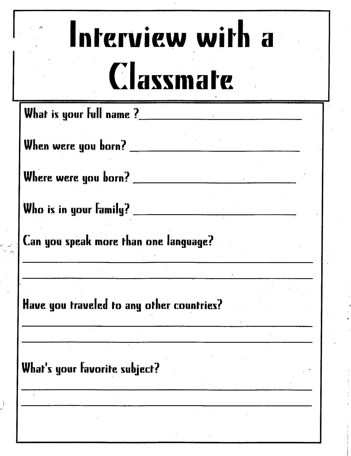 interviewing classmates essay Free essays on describe classmate get help with your writing 1 through 30.