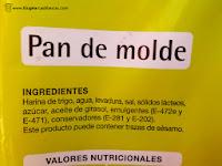 """Ingredientes del Pan de molde """"Producto Económico Alcampo"""" (también conocido como """"Primer Precio"""" o """"del pulgar"""")"""