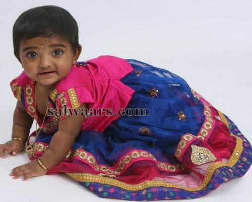 Blue Attractive Kids Lehenga
