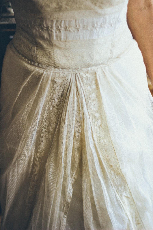 My handmade antique Normandy lace wedding dress