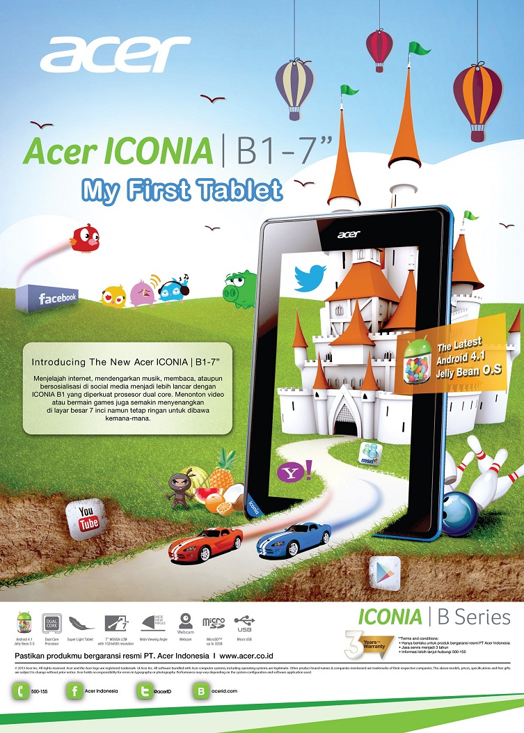 Acer Iconia B1 A71 Tablet Murah Dari Vendor Branded