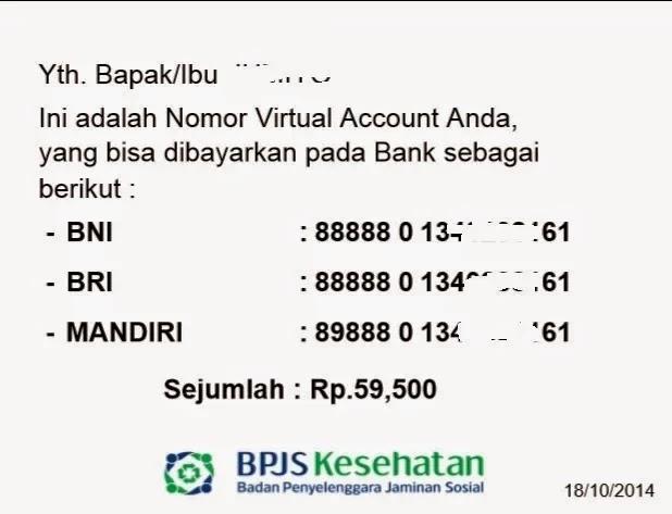 Contoh Lembar Nomor Virtual Account BJS Online