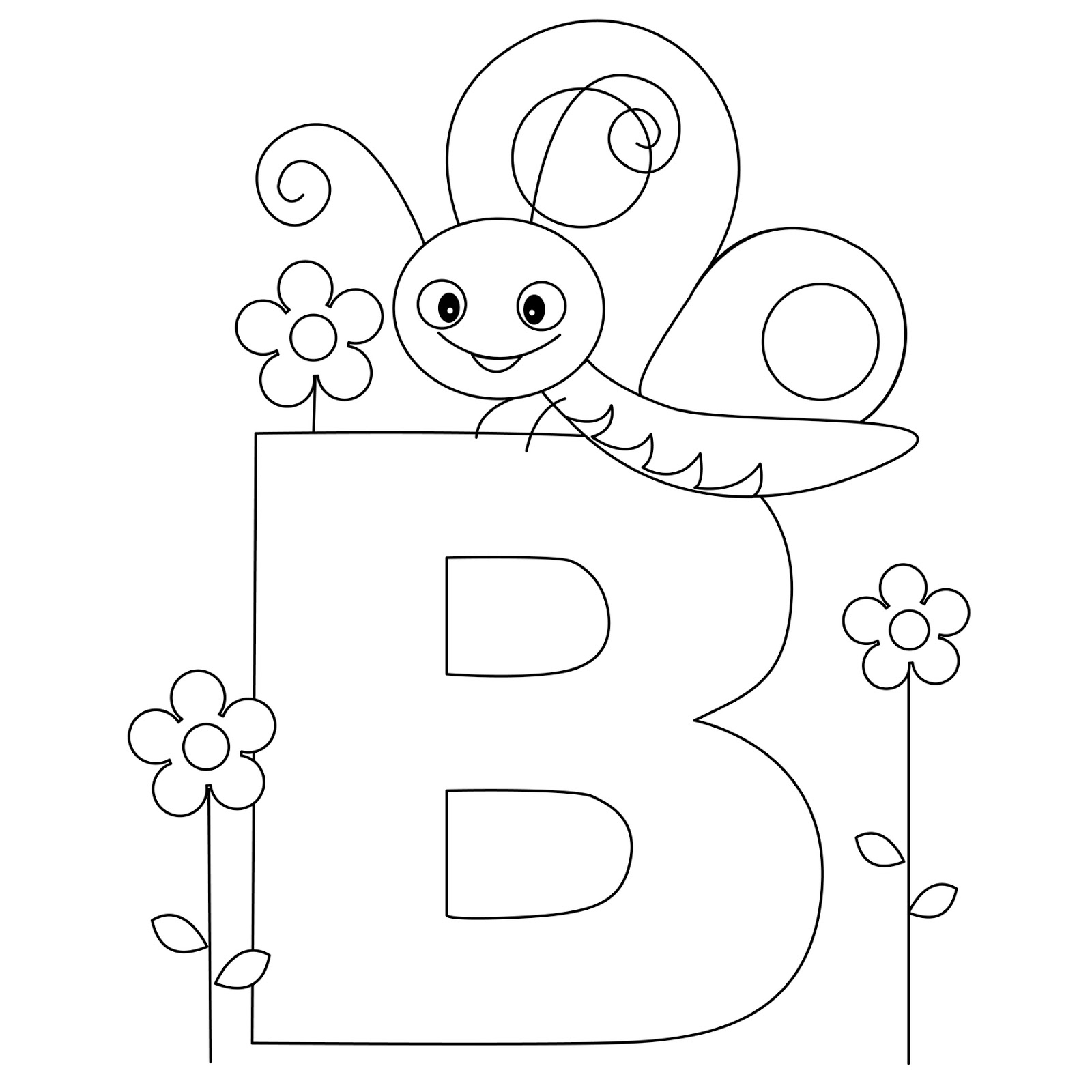 Coloring Pages Animals Letters : Animal alphabet letter b coloring butterfly