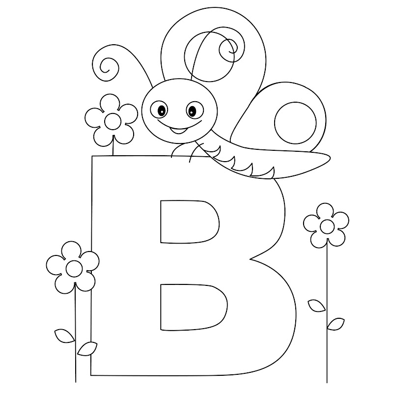 Animal Alphabet - Letter B Coloring - Butterfly Coloring title=