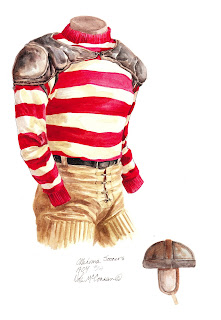 1904 University of Oklahoma Sooners football uniform original art for sale