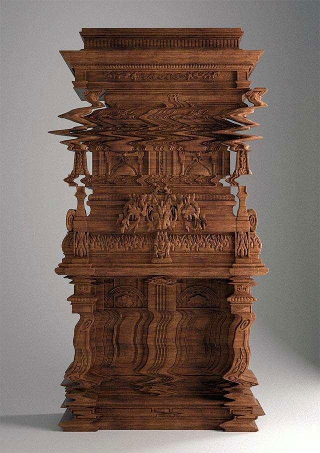 46 Unbelievable Photos That Will Shock You - A Cabinet Carved to Look Like a Digital Glitch