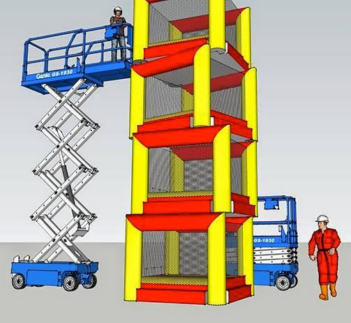 Construction workers create a bouncy castle highrise.