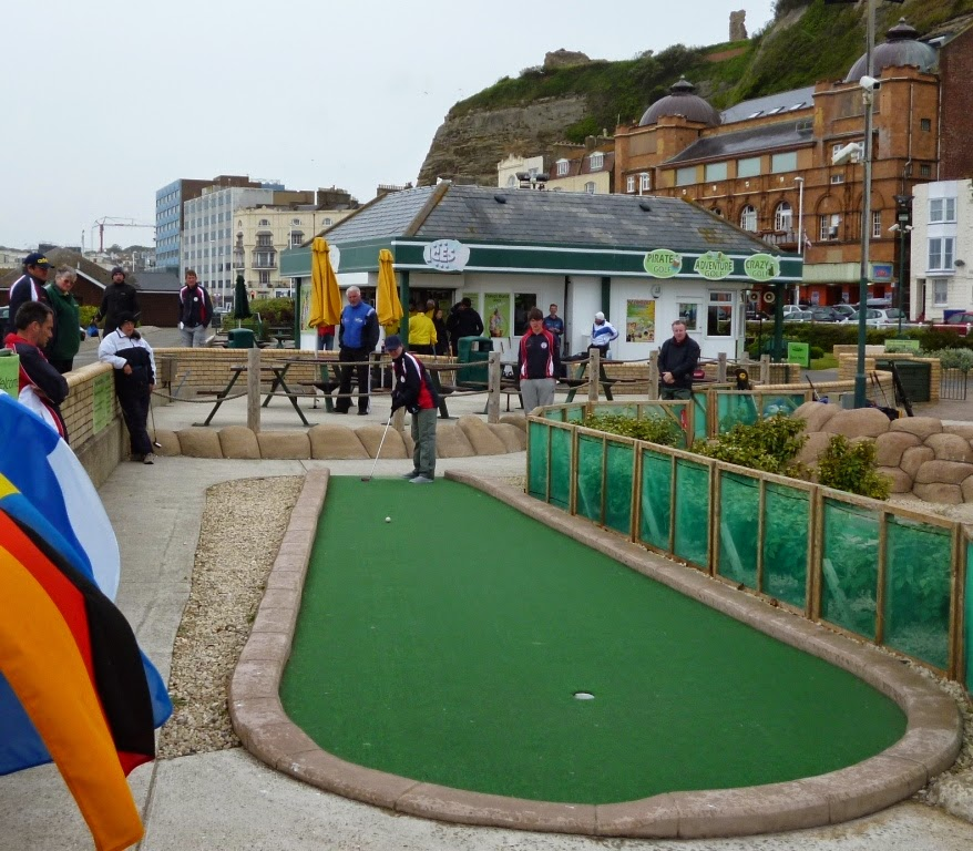 Emily in action at the 2013 WMF World Adventure Golf Masters played at the Pirate Golf course in Hastings